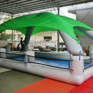 Inflatable pool for water ball or bumper boats with Tent